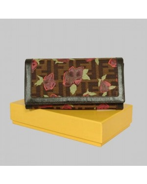 Fendi Coffee Leather with Rose Print Long Wallet